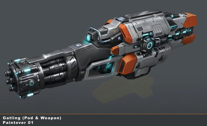 Concept Art by Streamline Studios for an Auto Cannon in EVERSPACE 2.