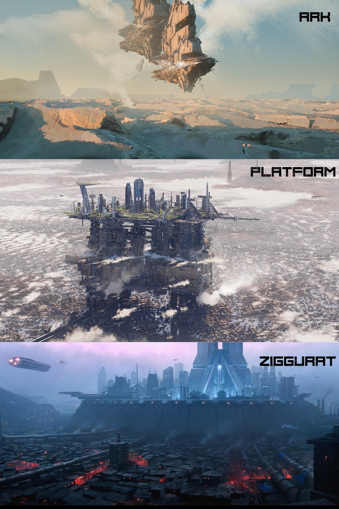 Images of a hovering ark, a platform city above a drowned coastal city, and a ziggurat surrounded by shanty-towns