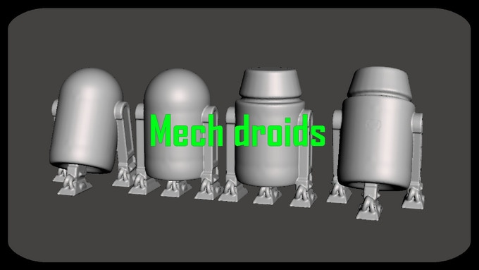 Now includes 4 Mech Droid models