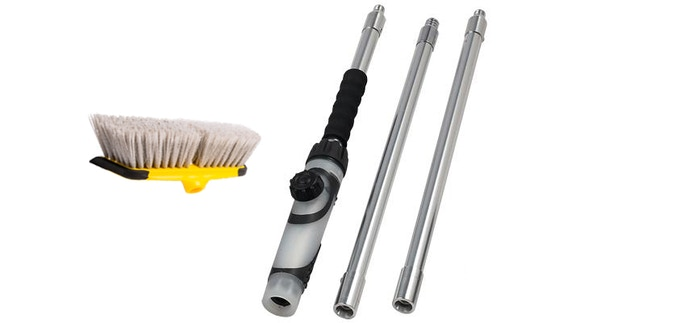The brush with three 18-inch wands for brush extension, a soap dispenser built into the brush handle.