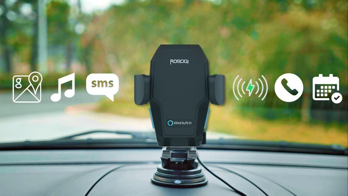 World's 1st AI powered hands-free 15W Qi wireless charger car mount.Control your music, maps, shopping & messages with voice control.