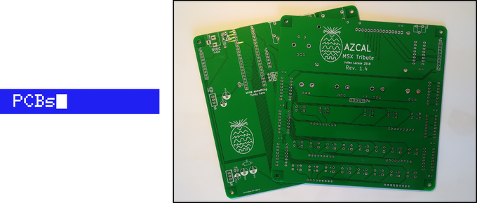 Final PCB should come in blue color with white text, MSX style !