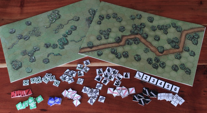 Game maps and counters printed out ready to play