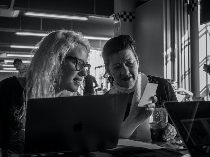 Scanning public submissions at the Ace Cafe, 2019. (Credit: Debbie Sears)