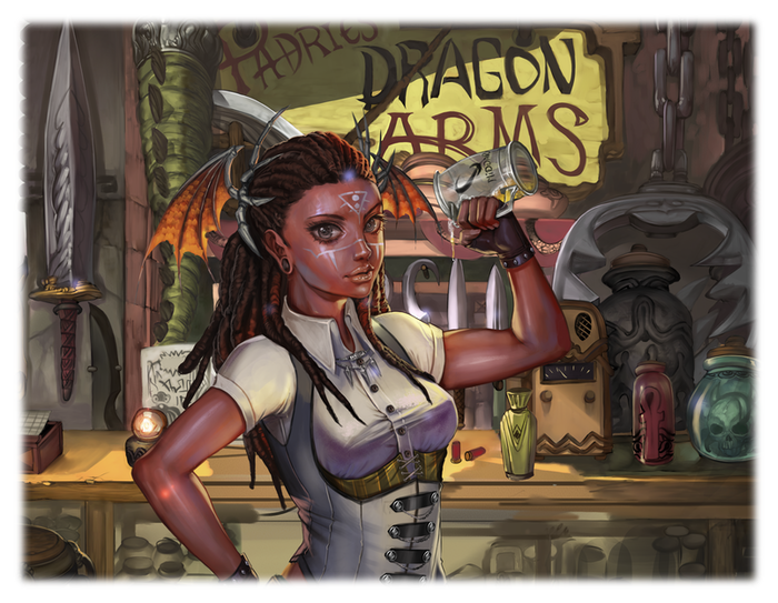 Charlotte, the  co-owner of Padric's Dragon Arms.