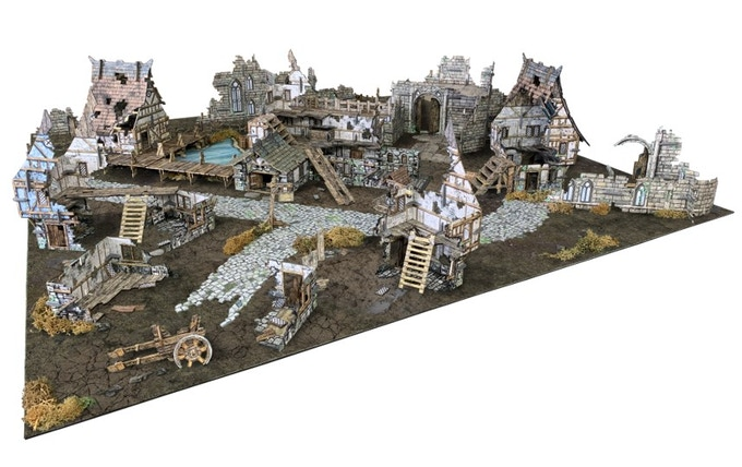 Ruined Village - An epic combination of the Village set, the Ruined Monastery and Roads from the Battlefield set (also available separately), and a Village Ruins Add-on