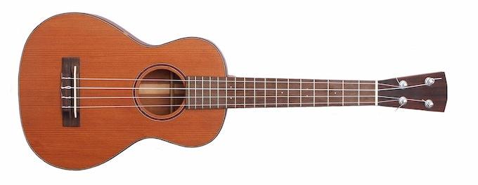 A mahogany and redwood tenor ukulele