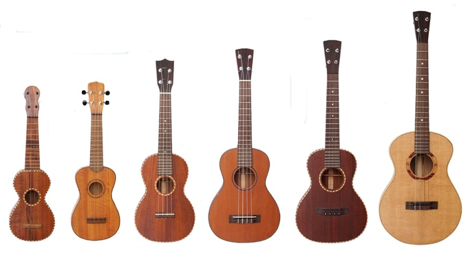 Six of the ukuleles built during the writing of the book