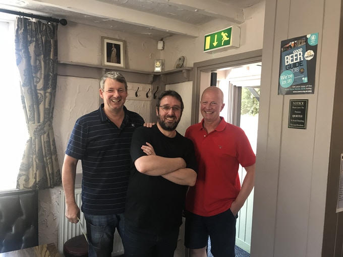 Giles Hunter (Publisher), Marty Neill (Rebooter) and David Hall (Creator) in Doncaster, 2017