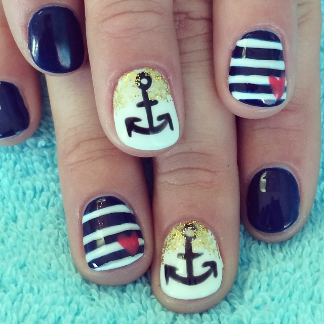 Nautical, hand painted on natural nails