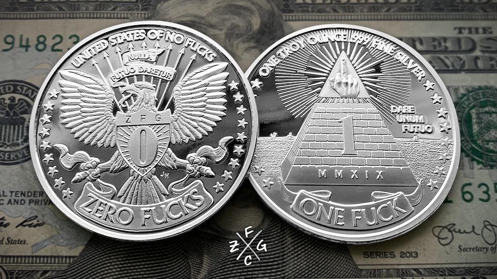 Project image for 1oz .999 Fine Silver One Fuck/Zero Fucks Decision Maker Coin