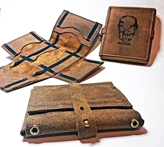 Front, back, and inside views. Backers will have the option of having our logo, on the back, or a minimal text only version. The basic level reward tier (Grim EDC Tool Roll Wallet) pictured above, also comes with 5 of our weatherproof, waterproof, tip cards over various subjects.