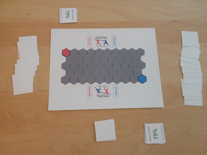 Files printed; pieces cut out; everything assembled to begin play.