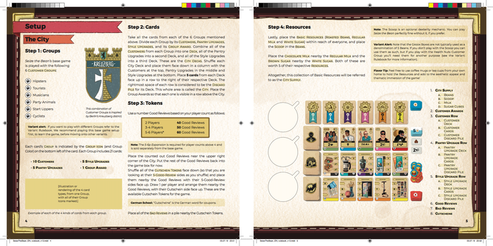 Here's another quick screenshot of the second spread in the main Rulebook. This one begins to share setup information and starts to show the various types of formatting we're using. Again, there are still some unfinished bits, but we are really getting big chunks completed!