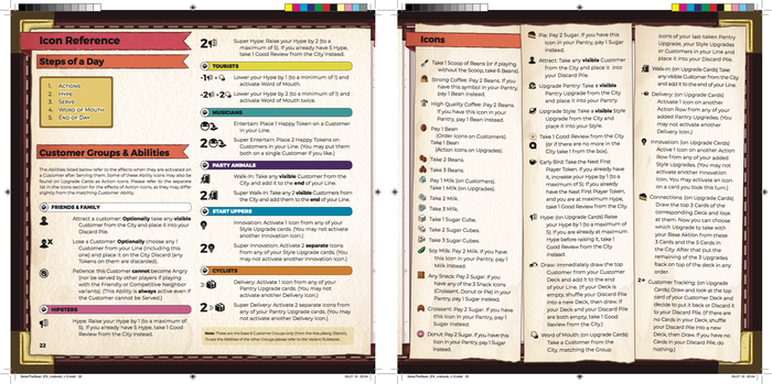 This will be the last screenshot we share today. It's pretty rough, but many of you have asked for a big reference of all the icons. This is where we are currently at: having a section in the back of both rulebooks that shows all the icons and explains them. We may want to cut down the longer explanations by thoroughly defining the icons elsewhere (with examples) and just using shorthand to give brief reminders here...