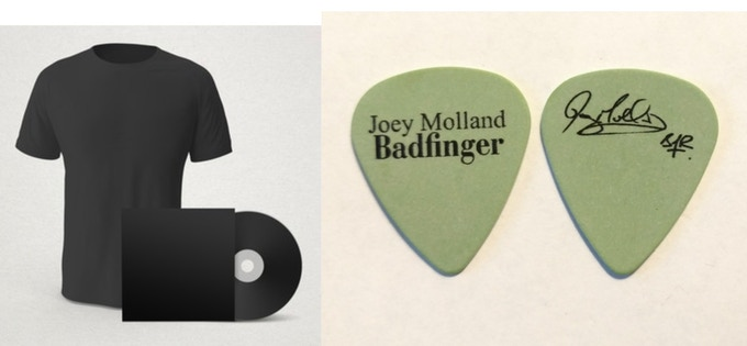 BUNDLE - Signed CD + Name in Liner Notes + Exclusive Badfinger Anniversary T-Shirt + 3 Joey Molland Guitar Picks (OTHER TYPES OF BUNDLES ARE ALSO AVAILABLE - see listing)