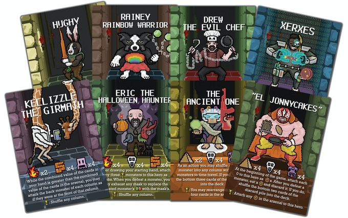 These are a few of the nearly 200 custom cards I created for my game Puzzle Dungeon.
