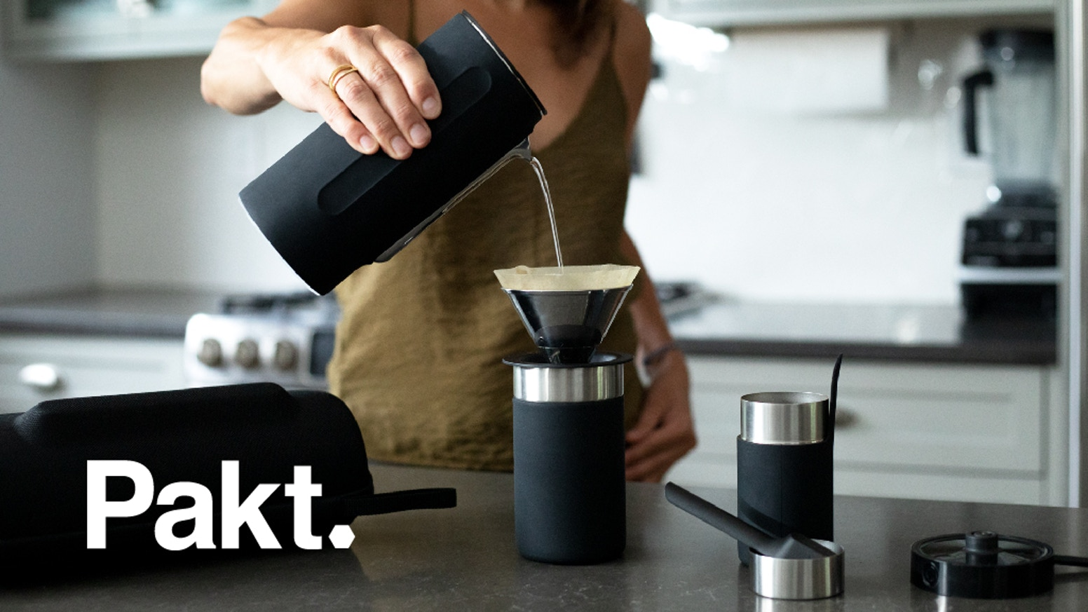 Everything you need to make barista-quality coffee in one sleek, portable package. Electric kettle included.