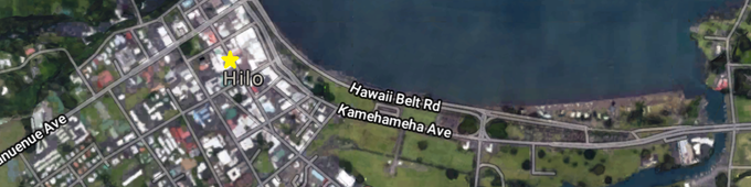 We'll be right in the center of Downtown Hilo