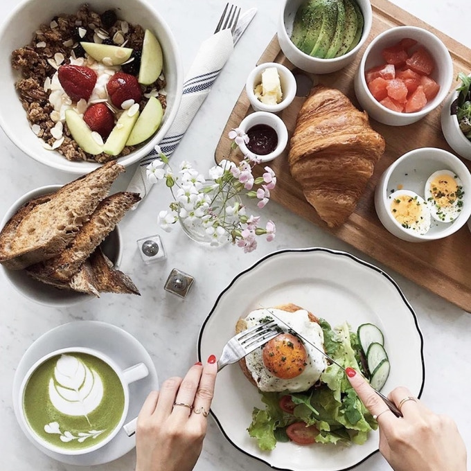 brunch board, bowl, avocado croissant toast, and matcha latte by @stevenfingar