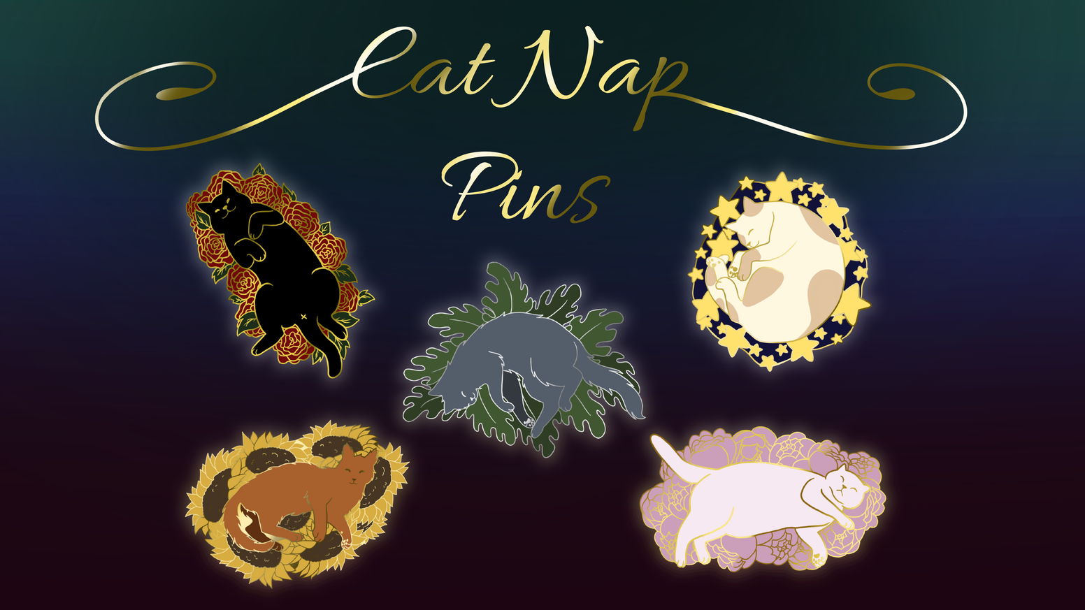 A series of cat and nature related enamel pins!