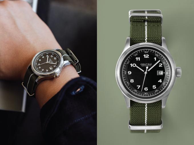 Field Watch (Black Type II) on Nylon Strap (Green)