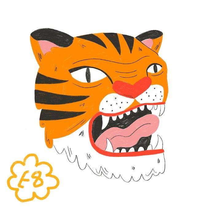 Tiger enamel pin 1.5 inch square