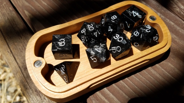 Vulcan Forged Carbon  Quicksilver Dice in sunlight - shot on a phone camera - unedited