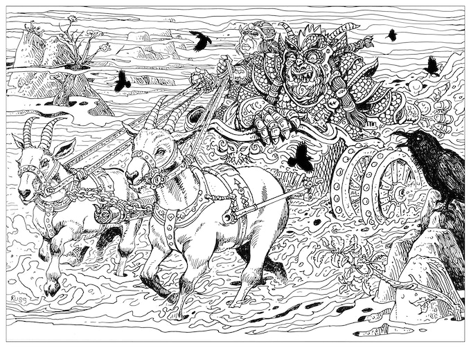 Russ Nicholson's depiction of two giants taking their goat-driven chariot out for a spin.
