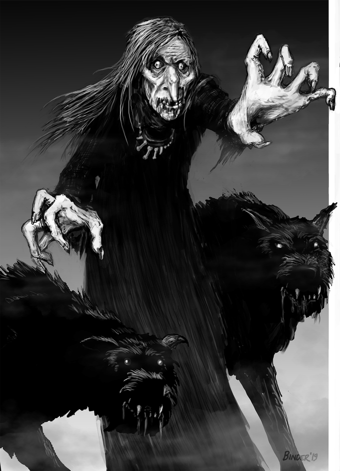 The pale hag and her yeth hound as depicted by Jared Binder.