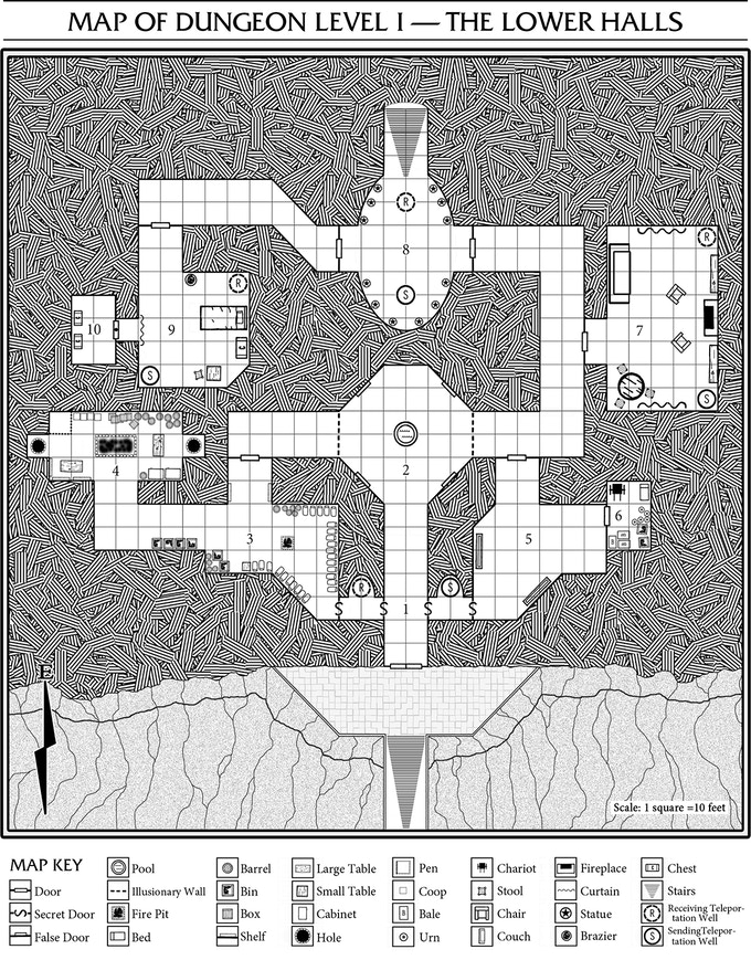 The map of the first dungeon level of the Misty Halls.
