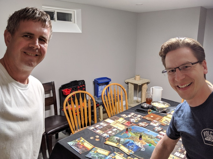 On July 9th the game designer, Wes (right) had a unique opportunity to bring and play Legends of Novus to the home of the First Backer... Ryan!  This unexpected work business trip across Canada was a perfect opportunity to connect with him, a supporter of the first KS who provided regular feedback in the time in between the failed first campaign and this relaunch.  In appreciation for his support, Ryan now has an early prototype copy of the game to enjoy until Legends of Novus is officially published!