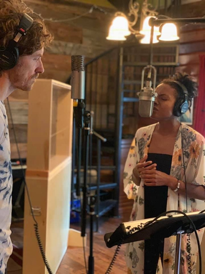 JT Nero (producer) and Allison Russell (background vocals)--aka, Birds of Chicago--in the Henhouse Studio in Nashville, where we recorded the album.