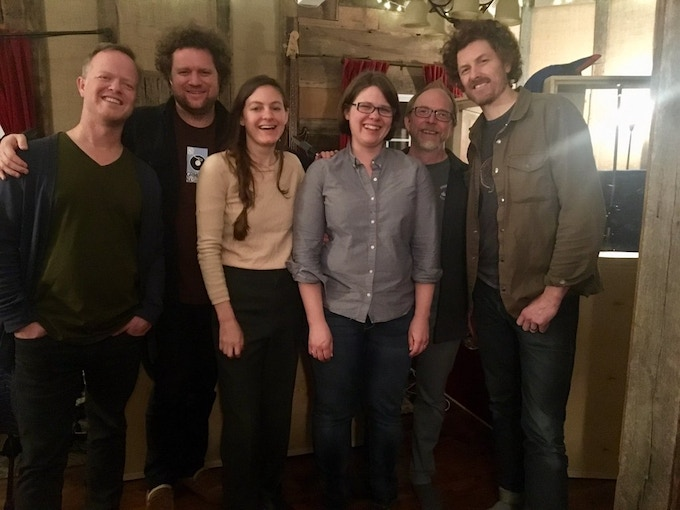 The band, after the last night of recording: Steve Dawson, Jamie Dick, Kristin Weber, Katie, Rich, JT Nero