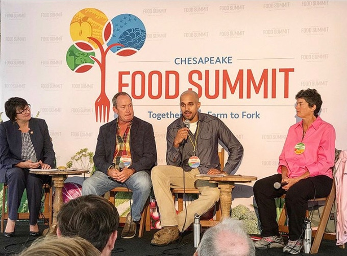 Chris (second from right) speaking on a panel moderated by Virginia Secretary of Agriculture and Forestry, Bettina Ring (far left), about sustainable agriculture at the 2018 Chesapeake Food Summit in Washington, D.C.