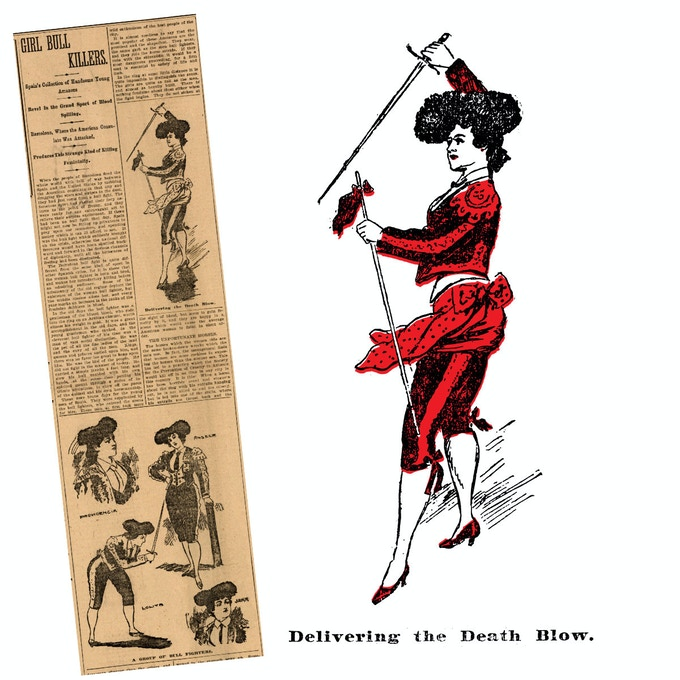 "Our Lady Bullfighter tee features art from The Daily Picayune's May 15, 1896 article, ""Girl Bull Killers"", about an exhibition by female bullfighters from Barcelona"