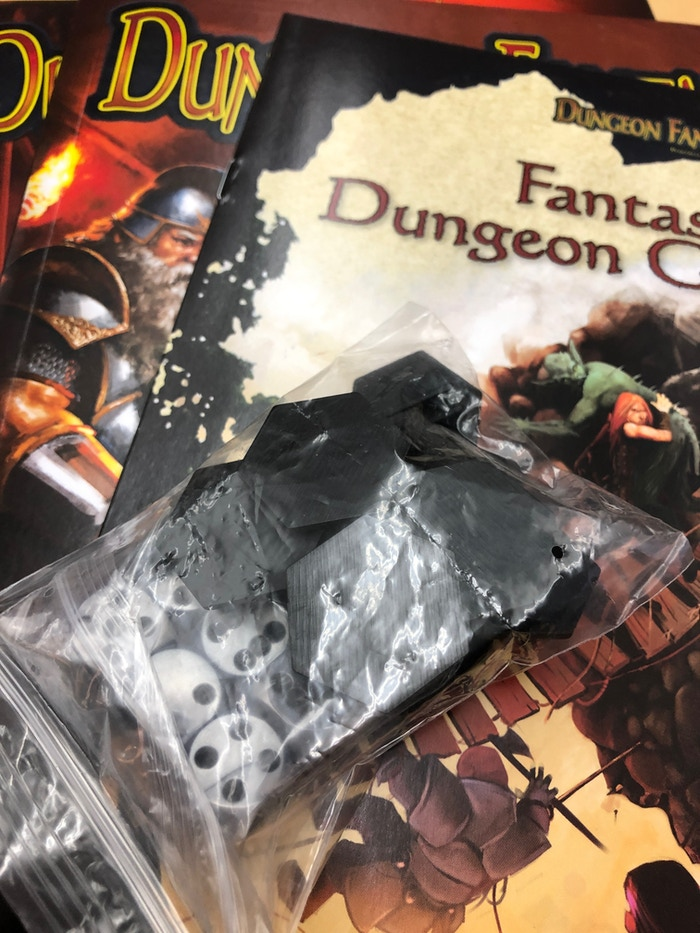 A few of the Dungeon Fantasy Roleplaying Game reprint components.