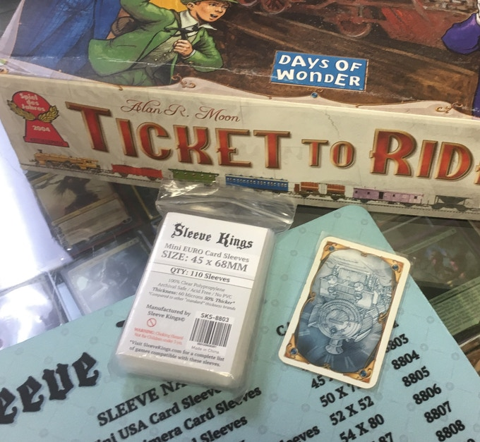 Mini Euro Sleeves work great for games like Ticket to Ride & many, many more!