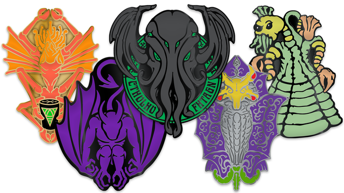 """Series 2 of our original Cthulhu Mythos pins include (L to R) a Mi-Go (Fungi from Yuggoth from """"The Whisperer in Darkness"""") in antique gold, a Night-gaunt (from """"The Dream-Quest of Unknown Kadath"""") in black nickel, Cthulhu Fhtagn (from """"Call of Cthulhu"""") featuring Cthulhu in black nickel (with gray and Glow in the dark green enamel!), an Elder Thing (""""At The Mountains of Madness"""") in antique silver, and a Yithian (Cone-shaped being from """"The Shadow Out of Time"""") in black nickel."""