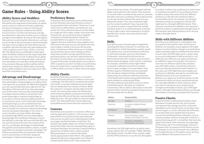 Game Rules - Using Ability Scores