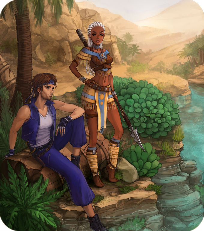 Kai and Azura rest by the Oasis.
