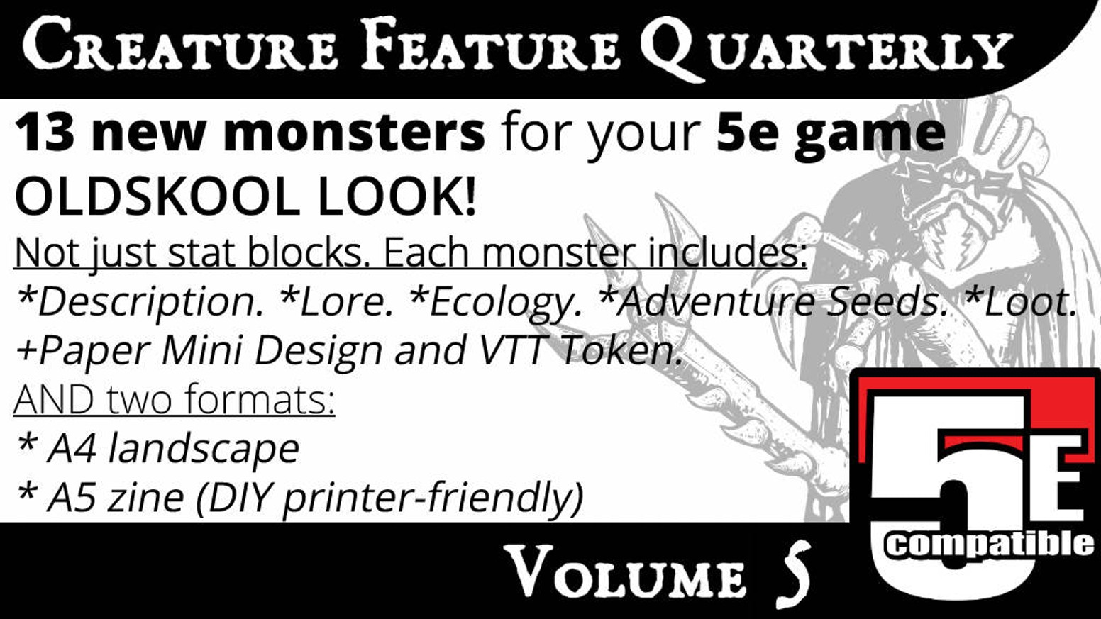 Creature Feature Quarterly Vol  5 (5e compatible) by Jeremy