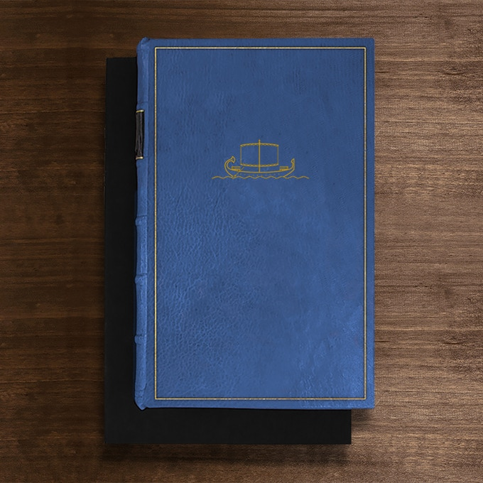 The Felucca Edition: Bound in Nile Blue Full-Leather with pastepaper end papers. Hand tooled in genuine gold. Presented in a suede lined clamshell box. Only 9 available.
