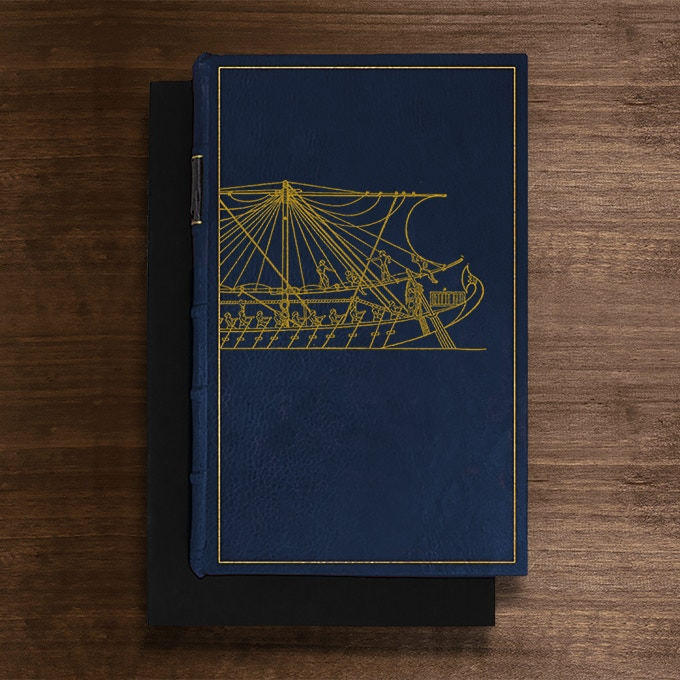 The Nile River Boat Edition: Bound in Blue Full-Leather with hand-marbled end papers. Hand tooled in genuine gold. Presented in a suede lined clamshell box. Comes with a portrait photograph of Agatha Christie among her books and a genuine Agatha Christie Autograph. Only 1 available.