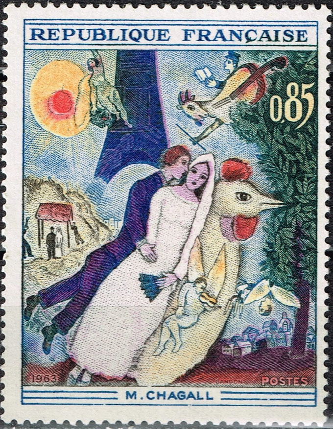 "Mark Chagall's ""The Married Couple of the Eiffel Tower"""