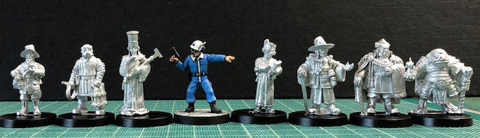 Scale comparison with Wave One and Two figures with Crooked Dice minion.