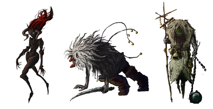 Concepts for enemies like the Fae or the Tschäggätäs, inspired by their Lötschental namesake