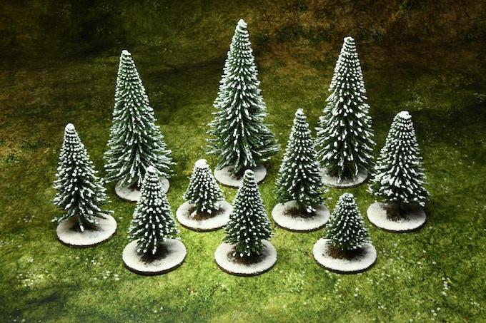 10 snowed trees : 15 €