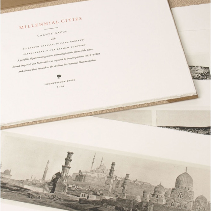 Millennial Cities features 10 hand-printed photogravure prints of the ancient world presented with essays by Harvard University archaeologist Dr. Carney Gavin. This was one of the most ambitious projects Thornwillow has ever undertaken and remains one of the rarest and most special of the press. Click the image above to learn more about this edition on our website.