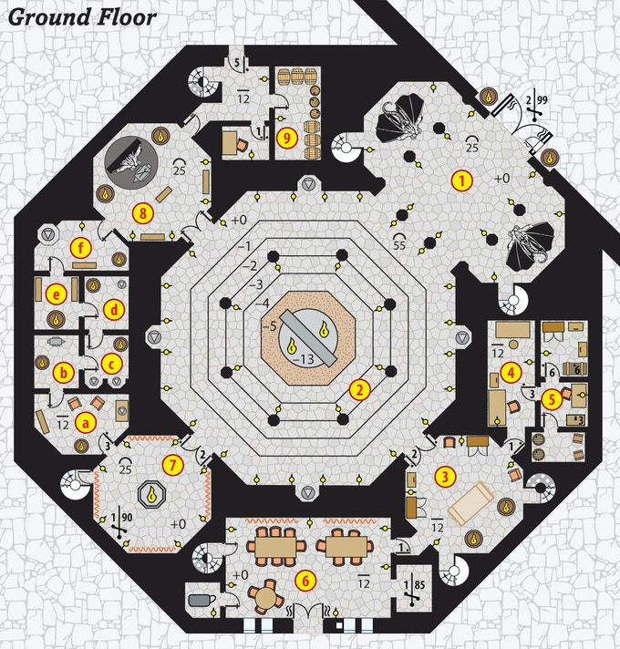 An example of the Temple of Agrik in Golotha - New colorized floorplan!